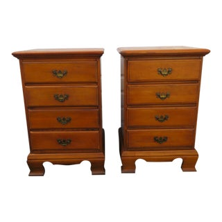 1900s Tall Solid Maple Nightstands - a Pair For Sale