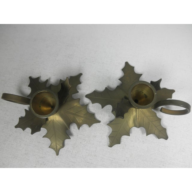 Arts & Crafts Brass Holly Candle Holders - A Pair For Sale - Image 3 of 3