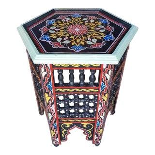 Black Hexagonal Hand-Painted Table