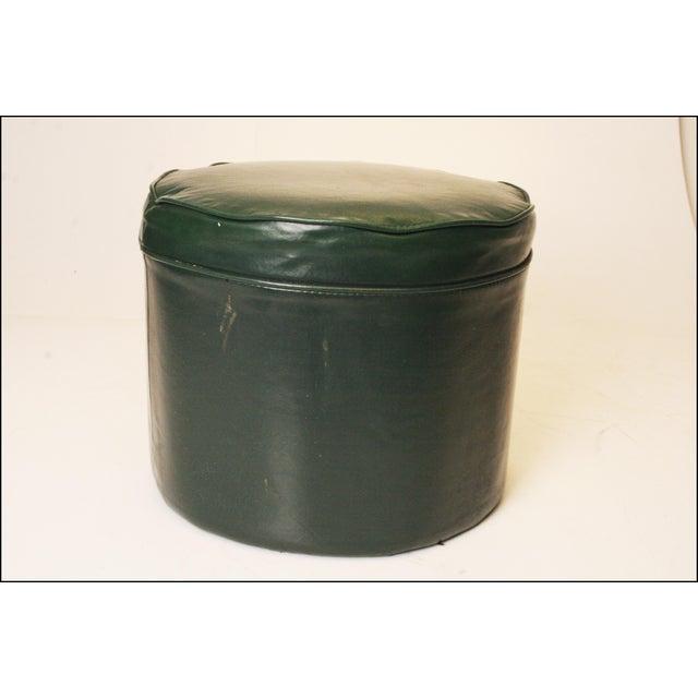Mid Century Modern Dark Green Vinyl Ottoman - Image 6 of 11