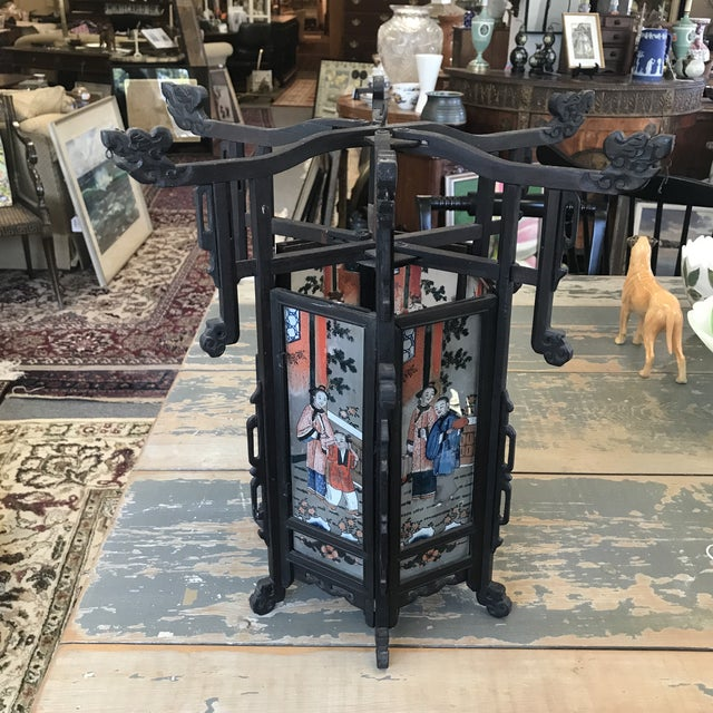 Black Late 19th Century Antique Asian Six Painted Panel Lantern For Sale - Image 8 of 8