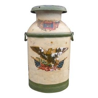 Vintage Rustic Patriotic Style Bald Eagle Declaration of Independence Milk Can For Sale