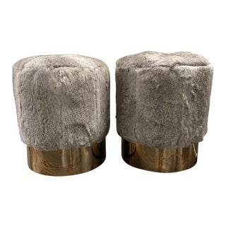 Mid-Century Gray Fur Ottoman Pouf Brass Base - a Pair For Sale
