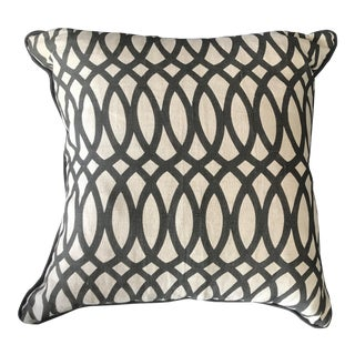 """22"""" Black Swirls Linen Pillow With Down Fill and Removable Cover"""