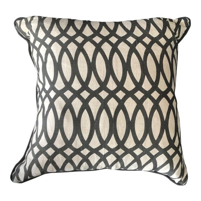 22 Black Swirls Linen Pillow With Down Fill And Removable Cover