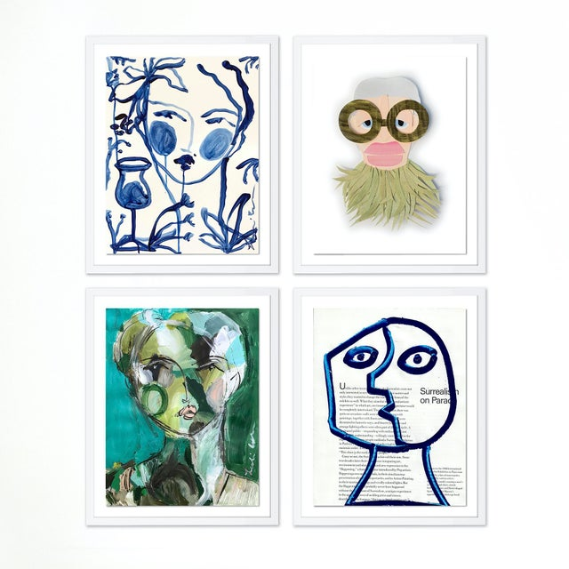 Paper Contemporary Portraiture Gallery Wall - Set of 4 For Sale - Image 7 of 7