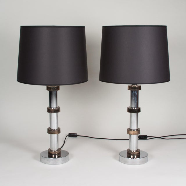 Vintage 1960s Faux Bamboo Chrome Lamps - A Pair - Image 7 of 8