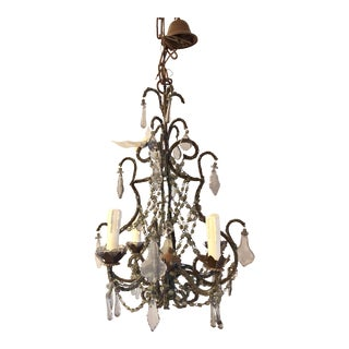 Yves Delorme French Beaded Crystal 4-Light Chandelier For Sale