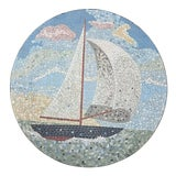 Image of Exceptional Mosaic Tile Coffee Table With Sail Boat For Sale