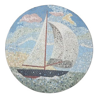 Exceptional Mosaic Tile Coffee Table With Sail Boat For Sale