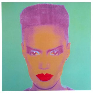 "Andy Warhol Foundation Rare Vintage 1993 Collector's Lithograph Pop Art Print "" Grace Jones "" 1986"