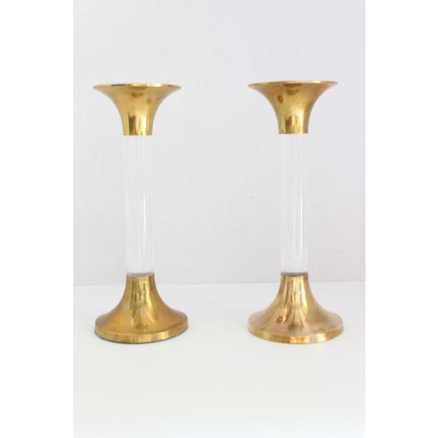 Brass and Lucite Candlesticks - A Pair - Image 3 of 6