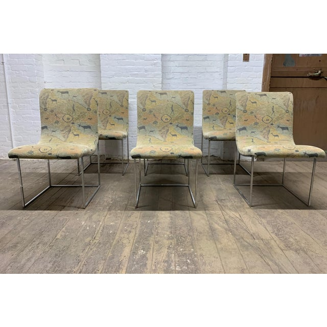 Set of Six Milo Baughman for Thayer Coggin Scoop Chrome Dining Chairs. Model #1228.