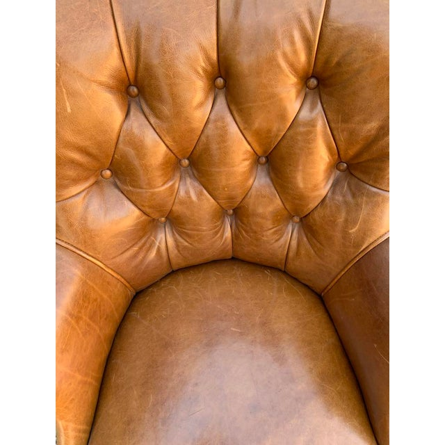 Late 20th Century Retro Tufted Leather Desk Chair For Sale In Los Angeles - Image 6 of 8