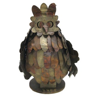 Vintage Light-Up Owl Sculpture in Brass