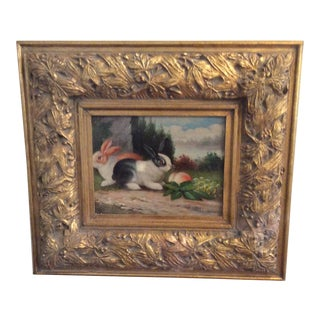 Double Rabbit in Country Scene in Gilded Frame For Sale