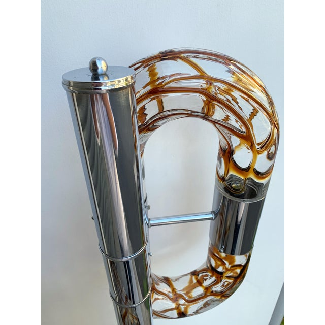 1970s Floor Lamp Metal Chrome Murano Glass by Aldo Nason for Mazzega, Italy, 1970s For Sale - Image 5 of 13