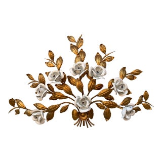 Mid-Century Italian Tole White & Gold Rose Large Wall Light For Sale