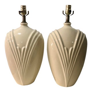 Art Deco Hollywood Regency Geometric Ceramic Ivory Table Lamps - a Pair For Sale
