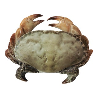 1900s Art Nouveau Fives Lille Majolica Crab Box