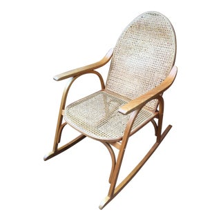 1980s Vintage Vermont Tubbs, Forest Dale Vermont Caned Rocking Chair For Sale