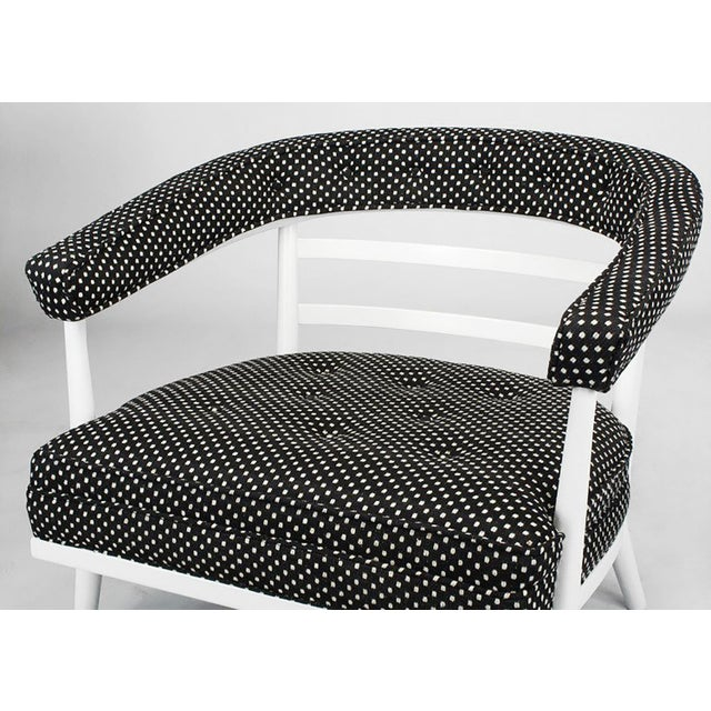 Four Bert England White Lacquer & Black Polka Dot Lounge Chairs For Sale In Chicago - Image 6 of 9