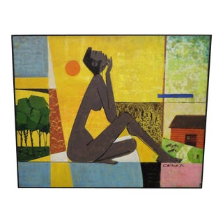 Mid Century Ceike Original Painting, Signed & Perfect Oil on Board For Sale