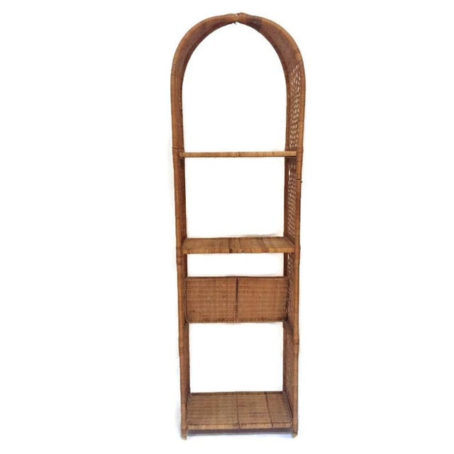 Vintage Domed Rattan Etagere Danny Fong Style For Sale - Image 11 of 12