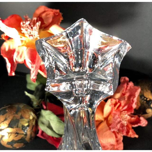 """Mikasa 12"""" Tall Pacific Wave Candle Holders Traditional Taper/Vases Crystal - Set of Two For Sale - Image 10 of 13"""