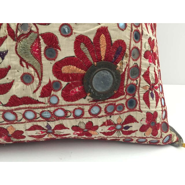 Off-white 19th Century, Rajasthani Colorful Embroidery and Mirrored Decorative Pillow For Sale - Image 8 of 11