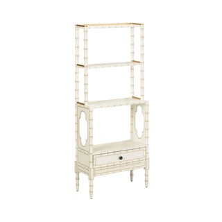Bamboo Bookcase in Cream For Sale