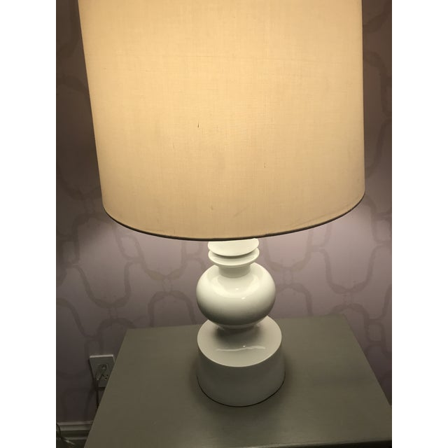 Fabric West Elm Turned Table Lamps - A Pair For Sale - Image 7 of 7