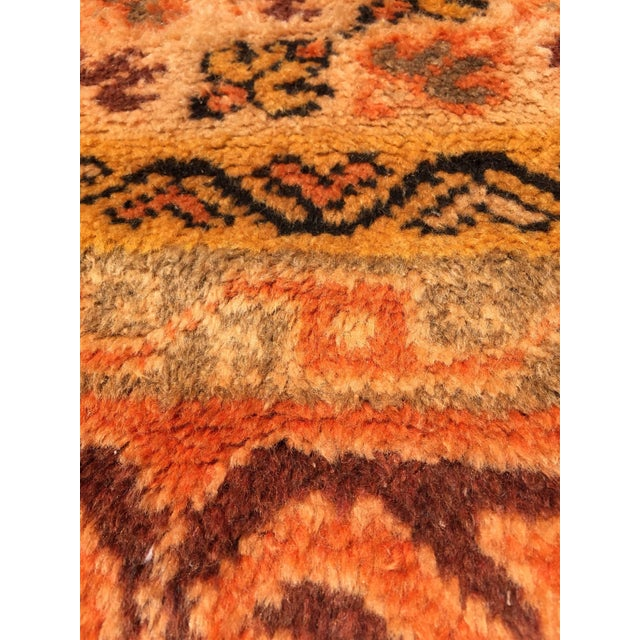 Vintage Mid Century Moroccan Orange Tribal African Pile Rug- 6′7″ × 16′5″ For Sale - Image 9 of 12
