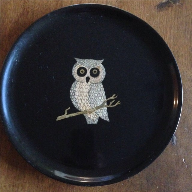 Black Vintage Couroc of Monterey Owl Tray For Sale - Image 8 of 11