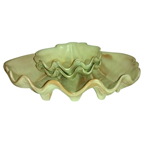 Mid-Century Frankoma Clam Shell Bowls Tiki For Sale