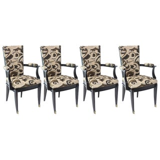 Set of Six Art Deco Ebony de Macassar Chairs, Attributed to Poillerat For Sale