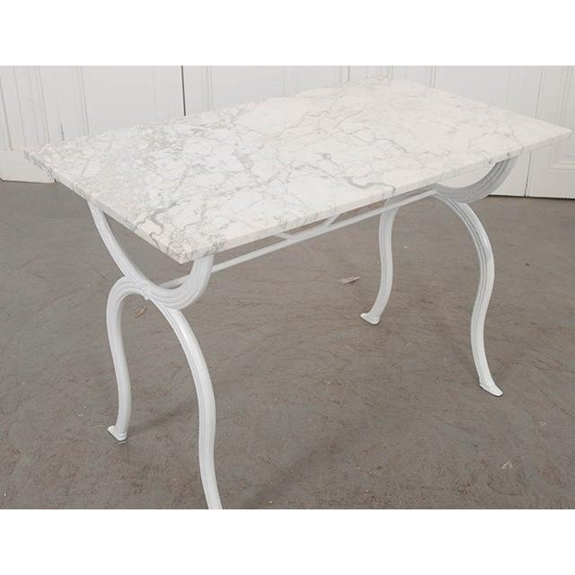 White French 19th Century White Marble-Top Bistro Table For Sale - Image 8 of 13