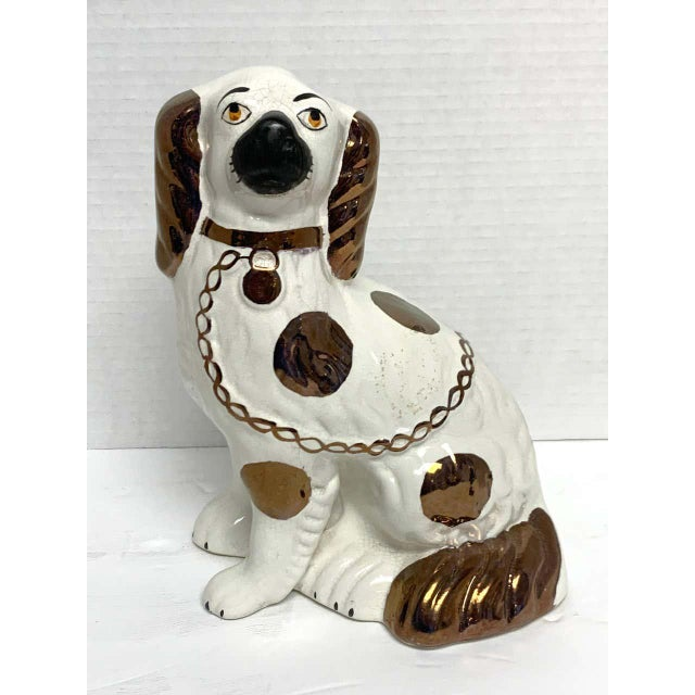 Staffordshire Wider Staffordshire Copper Luster Dogs With Separated Legs - a Pair For Sale - Image 4 of 12