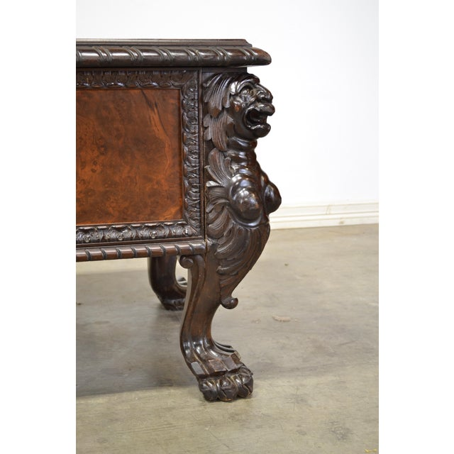 1920s Antique German Carved Lion Desk For Sale - Image 4 of 7