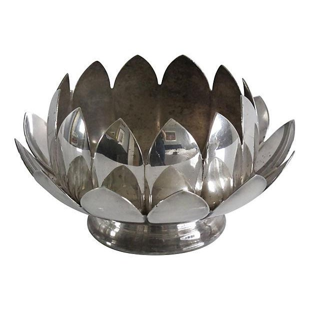 Nesting Silver Lotus Candleholder & Bowl - Image 2 of 4