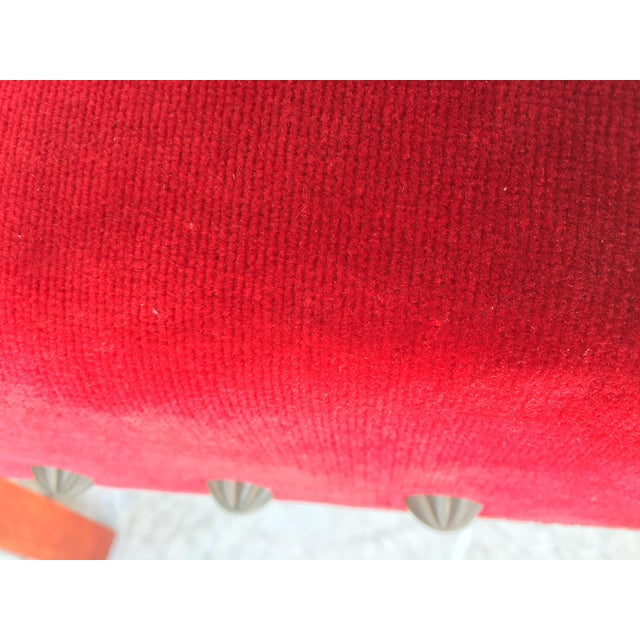 19th Century Spanish Revival High Back Armchair With Red Velvet Upholstery For Sale - Image 10 of 13
