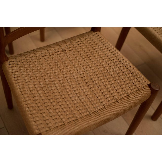 Vintage Mid Century Moller Model 85 Danish Teak Dining Chairs- Set of 8 For Sale - Image 11 of 12