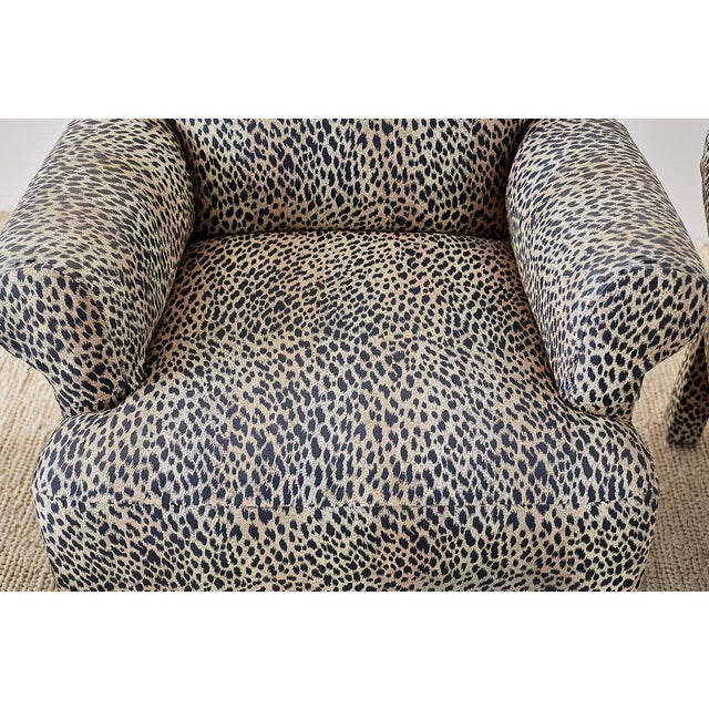 Mid 20th Century Set of Four Cheetah Leopard Upholstered Club Chairs For Sale - Image 5 of 13