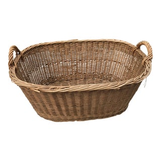 1910s Boho Chic French Laundry Basket For Sale