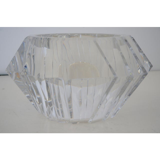 Mid-Century Swedish Modern Orrefors Crystal Faceted Bowl For Sale In West Palm - Image 6 of 12