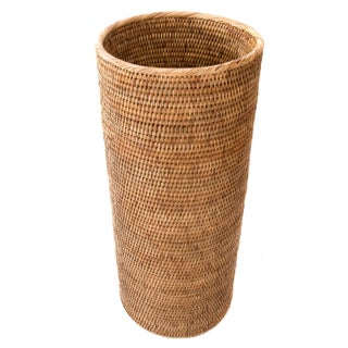 2010s Boho Chic Artifacts Trading Company Rattan Round Umbrella Basket For Sale