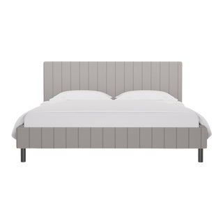 California King Tailored Platform Bed in Stripe In Grey For Sale