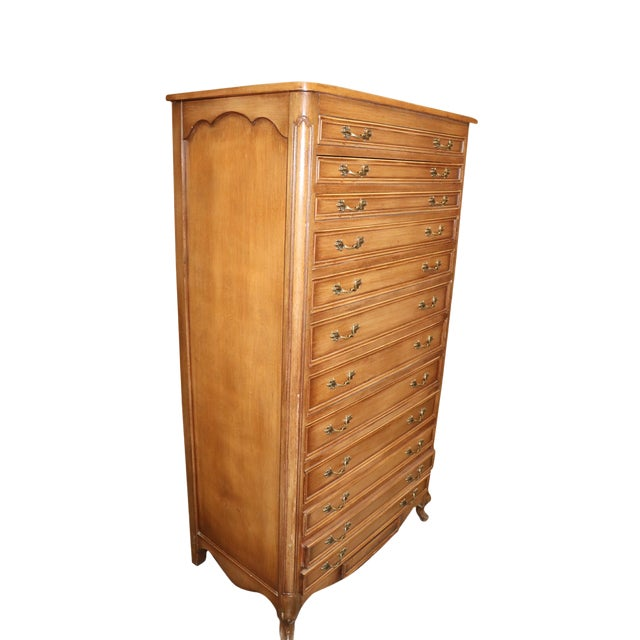French Provincial Full Size Dresser With Tapering Drawers, Lift Top & Hidden Drawer For Sale