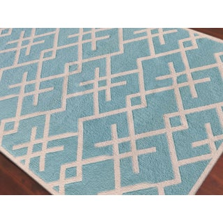 Zara Patterned Aqua Flat-Weave Rug 3'x5' Preview