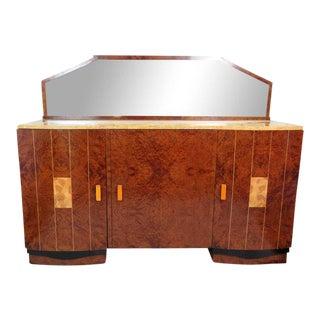 Ruhlmann Style Burl Walnut Inlaid Marble Top Sideboard For Sale